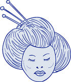 Geisha Girl Head Drawing. Drawing sketch style illustration of head of Geisha, geiko or geigi girl, traditional Japanese female entertainer who act as hostesses Stock Photo