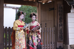 Geisha Girls making a pilgrimage. Japanese Geisha in Kyoto Asia Royalty Free Stock Photos
