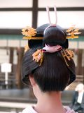 Geisha hairstyle. Close up of an interesting and unusual geisha hairdo Stock Photography