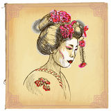 Geisha - An hand drawn vector sketch, freehand, colored line art. An hand drawn vector illustration, colored line art. GEISHA. Freehand sketch of head of an Stock Images