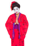 Geisha with hands together respect gesture Stock Photography