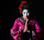 Geisha with hands together respect gesture Stock Photos