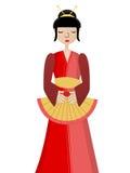 Geisha holding fan. Simplistic Geisha holding fan Isolated VECTOR royalty free illustration