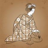 Geisha Japan classical Japanese woman ancient style of drawing. Geisha makes a tea Royalty Free Stock Photography
