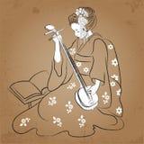 Geisha Japan classical Japanese woman ancient style of drawing. Playing geisha. Geisha Japan classical Japanese woman ancient style of drawing. Playing music Royalty Free Stock Image