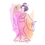 Geisha Japan classical Japanese woman waterclolr style of drawing. Dancing Japanese girl Stock Photos