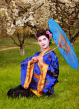 Geisha. Japanese geisha in blooming cherry garden Royalty Free Stock Photography
