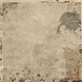 Geisha Japanese woman in traditional dress. Decorative scrapbook background with Japanese woman in traditional dress and floral frame Royalty Free Stock Photo