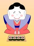 geisha japonais de dessin animé avec des sushi illustration de vecteur
