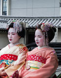 Geisha on Jinrikisha Royalty Free Stock Photography