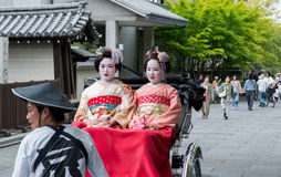 Geisha on Jinrikisha Royalty Free Stock Photo