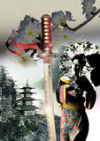 Geisha, katana and pagoda Stock Image
