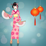 Geisha with kimono and Chinese lanterns Royalty Free Stock Photos
