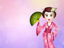Geisha with kimono Royalty Free Stock Photo