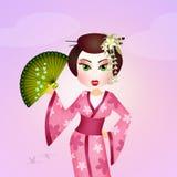 Geisha with kimono Stock Photo