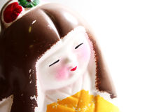 geisha målad statuette royaltyfria foton
