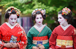Geisha Maiko. KYOTO, JAPAN - JUNE 10: Unidentified tourist women dress like a Maiko, Tourists usually makeup as Geishas (also known as Maiko) in Kyoto on June 10 Royalty Free Stock Photo
