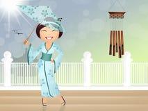 Geisha med paraplyet Arkivbild