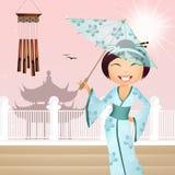 Geisha med paraplyet Arkivbilder