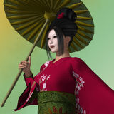 Geisha Melissa Su. A Geisha is a young Japanese woman who dances, serves food and entertains her audience Royalty Free Stock Photo