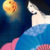 Geisha met blauwe ventilator Vector ontwerpelement Stock Afbeelding