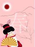 Geisha met een ventilator op de lenteachtergrond Stock Afbeelding