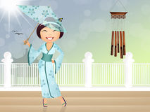 Geisha met paraplu Stock Fotografie