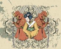 Geisha mit Blumen Stockbild