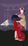 Geisha and Mount Fuji Royalty Free Stock Photos