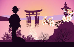 Geisha mountains in the background and the Japanese gate. Geisha mountains in the background and the Japanese Royalty Free Stock Photography