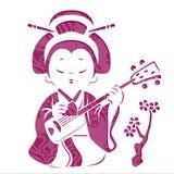 Geisha musician stencils cards stock illustration