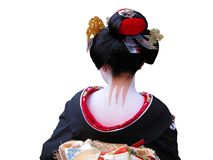 Geisha neck. Unusual and very characteristic painted neck of a geisha.,over white background Stock Photos