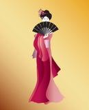 Geisha nel colore rosa Immagine Stock