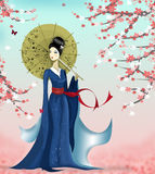 Geisha och fjäril stock illustrationer