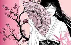 Geisha op een roze bloemenachtergrond stock illustratie