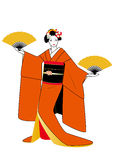 Geisha in orange kimono with fans in hands Royalty Free Stock Image