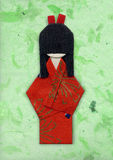 Geisha origami on Green. Handmade paper Royalty Free Stock Images