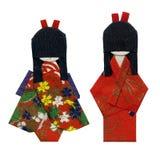 Geisha Origami - isolated. Two origami geishas isolated on white Stock Photos