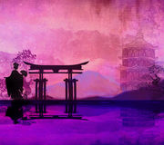 Geisha på solnedgången Arkivfoton