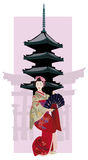 Geisha and Pagoda. Illustration with Geisha, Japanese Pagoda and Torii Gate Silhouette Royalty Free Stock Photos