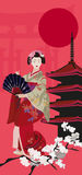 Geisha and Pagoda. Background illustration with Geisha and Pagoda Stock Images