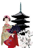 Geisha and Pagoda. Illustration with Geisha, Pagoda Temple and Cherry Blossoms Stock Photos