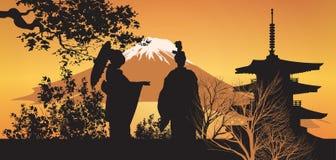 Geisha and Pagoda with tree Stock Photo