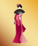 Geisha in pink Stock Image