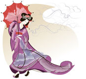Geisha in pink kimono. Under a red umbrella royalty free illustration
