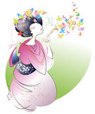 Geisha in pink kimono. Playing with colorful butterflies Stock Images