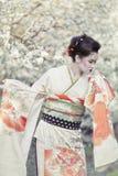Geisha. Portrait of beautiful geisha against blooming tree stock photos
