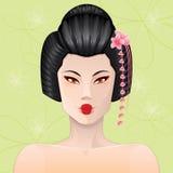 Geisha Portrait. Beautiful Japanese woman closeup portrait Royalty Free Stock Images