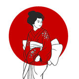 Geisha Portrait Illustration Stock Photo