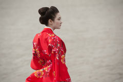 Geisha in red Royalty Free Stock Photography